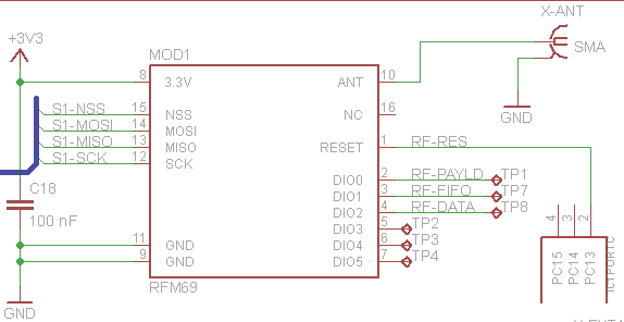 RFM69 to microcontroller connection