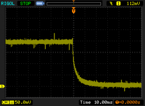 Step response from 2 A down to 0, measured across 0.1 Ohm shunt.